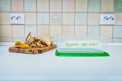 A cozinha desossa o recipiente para cães Foto de Stock