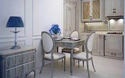 Cozinha do art deco com jantar Fotos de Stock Royalty Free