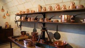 Cozinha do castelo Chenonceau em Loire Valley fotos de stock
