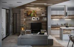 A cozinha do conceito e a sala de visitas abertas, 3D rendem Foto de Stock Royalty Free