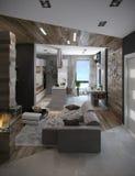 A cozinha do conceito e a sala de visitas abertas, 3D rendem Imagem de Stock Royalty Free