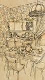 Cozinha do vintage com objetos e mobília Imagens de Stock Royalty Free