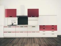 Cozinha doméstica moderna, projeto interior à moda Imagem de Stock