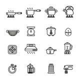 Cozinha e ícones do cozimento ajustados Linha estoque do estilo Fotos de Stock Royalty Free