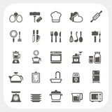Cozinha e ícones do cozimento ajustados Foto de Stock