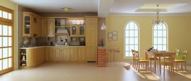 Cozinha e sala de jantar luxuosas clássicas Fotos de Stock Royalty Free
