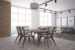 Cozinha e sala de visitas de madeira e brancas, galeria Imagem de Stock Royalty Free