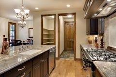 Cozinha elegante com contador do granito Fotografia de Stock