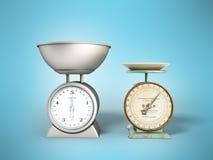 A cozinha escala a comparação de escalas que novas das escalas velhas 3d rendem sobre ilustração stock