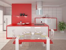 Cozinha espaçoso à moda Ilustração Stock