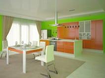 Cozinha espaçoso moderna Ilustração Stock