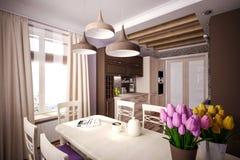 Cozinha feita sob encomenda Fotos de Stock Royalty Free
