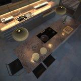 Cozinha gama alta (noite) ilustração stock