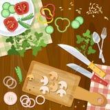 Cozinha home da cozinha que cozinha a opinião superior do alimento Fotos de Stock