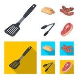 Cozinha, lenha, salsichas e outro da lâmina para o assado Ícones ajustados da coleção do BBQ nos desenhos animados, símbolo liso  Imagem de Stock