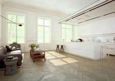Cozinha luxuoso rendição 3d Fotos de Stock Royalty Free