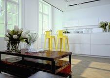 Cozinha luxuoso rendição 3d Foto de Stock Royalty Free