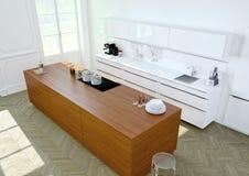 Cozinha luxuoso rendição 3d Fotos de Stock