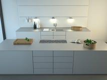 Cozinha minimalista moderna fotografia de stock royalty free