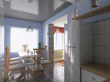 A cozinha moderna Imagens de Stock Royalty Free