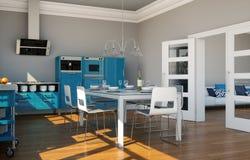 Cozinha moderna azul em uma casa com um projeto bonito Imagens de Stock Royalty Free