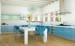 Cozinha moderna azul em uma casa com um projeto bonito Imagem de Stock Royalty Free