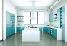 Cozinha moderna azul em uma casa com um projeto bonito Fotos de Stock