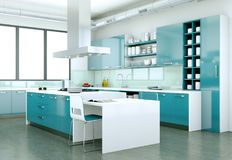 Cozinha moderna azul em uma casa com um projeto bonito Fotos de Stock Royalty Free
