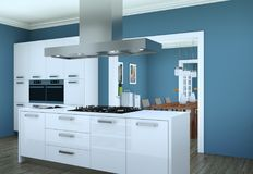 Cozinha moderna branca em um plano com projeto bonito Fotos de Stock