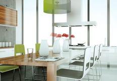 Cozinha moderna branca em uma casa com muro de cimento Fotos de Stock Royalty Free