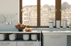 Cozinha moderna branca em uma casa com um projeto bonito Imagem de Stock Royalty Free