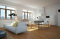 Cozinha moderna branca em uma casa com um projeto bonito Imagem de Stock