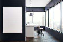 Cozinha moderna com cartaz e opinião de NY ilustração stock