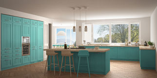 Cozinha moderna com janelas grandes, wh de Escandinávia do clássico do panorama Fotografia de Stock