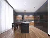 Cozinha moderna com madeira e para anotar os armários de cozinha pretos, ilha de cozinha com tamboretes de barra, bancadas de ped ilustração stock