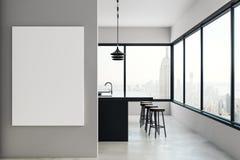 Cozinha moderna com quadro de avisos e opinião de NY ilustração royalty free