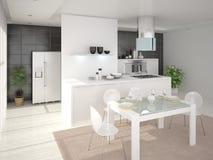 Cozinha moderna confortável Ilustração Stock