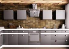 Cozinha moderna 3d interior Imagens de Stock