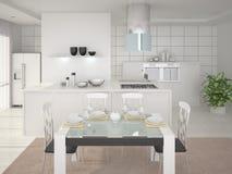 Cozinha moderna de Interer Ilustração Royalty Free