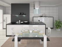 Cozinha moderna de Interer Ilustração Stock