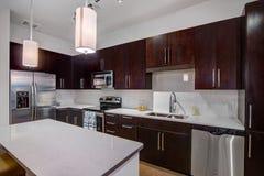 Cozinha moderna do apartamento Foto de Stock Royalty Free
