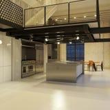 Cozinha moderna do sotão na noite Fotos de Stock Royalty Free