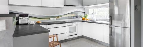 Cozinha moderna e do projeto Imagens de Stock Royalty Free