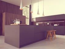 Cozinha moderna em uma casa ou em um apartamento rendição 3d Fotografia de Stock