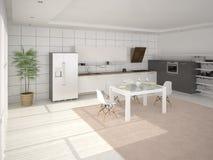 Cozinha moderna funcional Ilustração Royalty Free