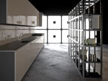 Cozinha moderna Hyper ilustração royalty free