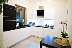 Cozinha moderna no branco Foto de Stock Royalty Free
