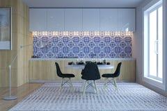 Cozinha moderna nova com o espaço para refeições fotos de stock royalty free