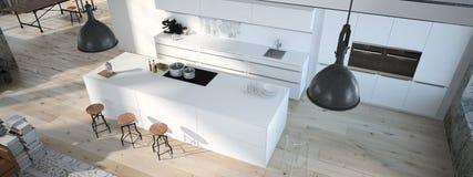 A cozinha moderna rendição 3d Fotos de Stock Royalty Free