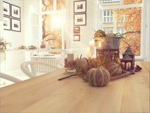 Cozinha nórdica em um apartamento rendição 3d Conceito da ação de graças Fotos de Stock Royalty Free
